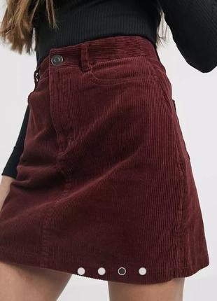 Шикарная бордовая вельветовая юбка спідниця new look