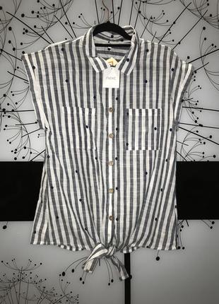 Новая блуза  в полоску/ горох next размер 14 100% cotton