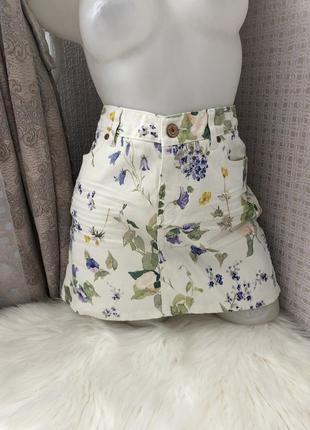 Шикарная джинсовая юбка спідниця джинсова джинсовая от h&m на лето летняя