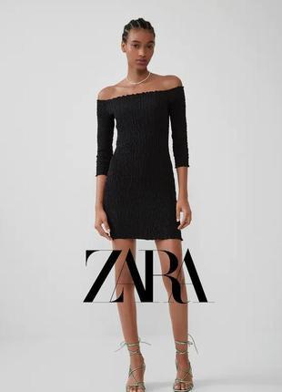 Очень крутое платье с опущенными рукавами в идеальном состоянии🖤zara🖤