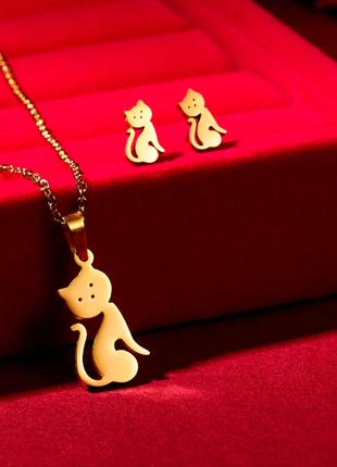 Комплект серьги + цепочка кошечка котята