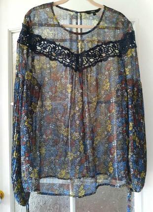 Шикарная шифоновая блуза. кружевная блузка размер 14 но идет на 50-54размер.