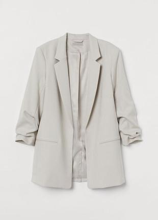 H&m лён /вискоза пиджак блейзер с присобранным рукавом