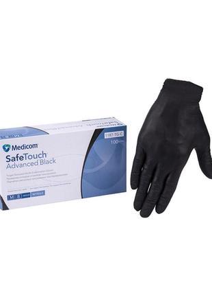 Черные нитриловые перчатки medicom safetouch advanced black m (7-8)