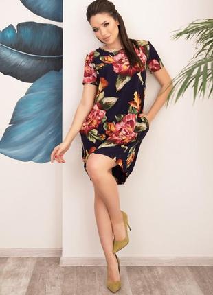 Цветочное свободное платье баллон на кулиске арт: 12546