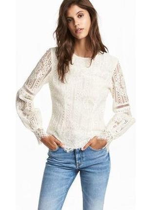 H&m кружевная блуза  с рукавами баллонами    xs