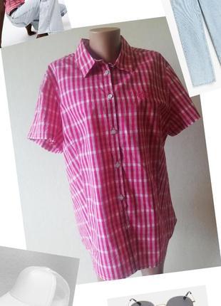 Хлопковая рубашка в клетку. jack wolfskin. сорочка xl.розовая рубашка