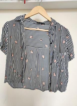 Короткая рубашка с мопсами в полоску