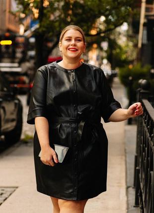 Кожаное платье, платье-рубашка из экокожи от h&m, очень большой размер, кожзам.