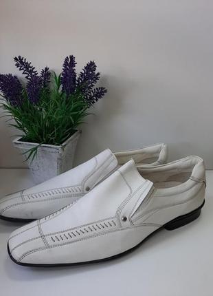 Мужские белые туфли кожа размер 43.