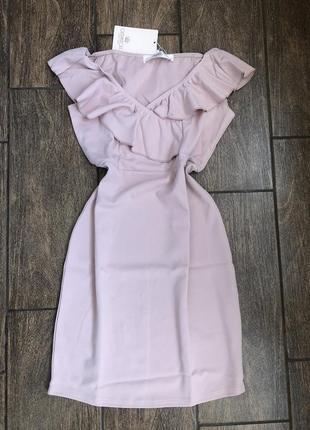 Новое летнее платье с бирками нюд оттенка шикарный v образный вырез