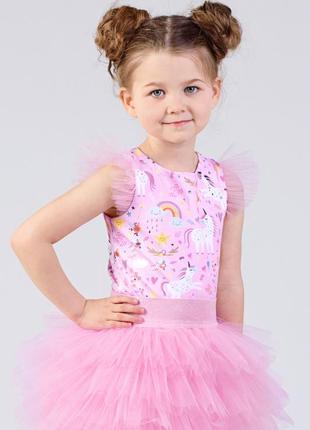 Блузка розовая с единорогами для девочки