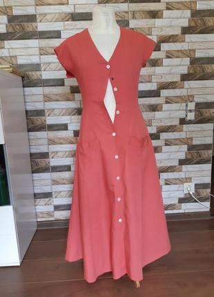 Платье халат лен льняное винтаж