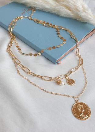 Тройное ожерелье цепи золотые