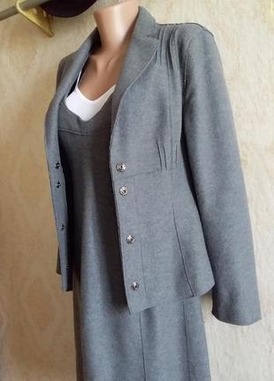 Костюм люкс бренда сарафан/платье на бретелях пиджак/жакет шерсть оригинал