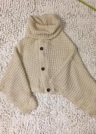 Кейп вязаный свитер палантин пальто кардиган кофта накидка оверзайз осеняя