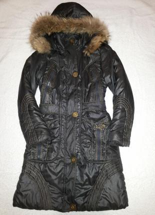 Акция! зимняя куртка-пальто с мехом енота, новое сост., р.s (155/80а)