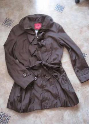 Плащ - пальто, модный, глубокий шоколадный цвет
