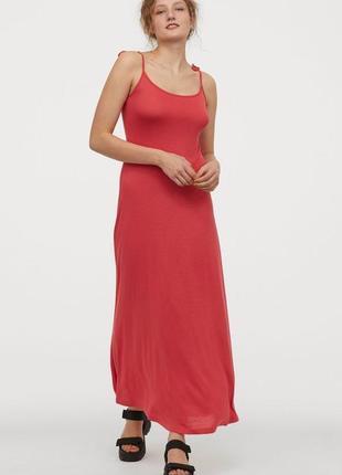 🌿длинный коралловый сарафан h&m платье в пол макси на тонких бретельках