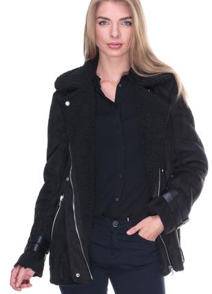 Демисезонная замшевая дубленка косуха, пальто bershka
