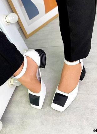Бело чёрные туфли босоножки натуральная кожа