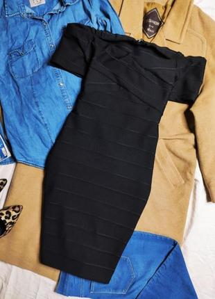 Платье резинка открытые плечи футляр по фигуре карандаш