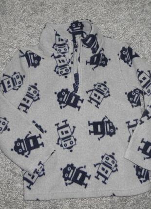 Новый  флисый свитер с роботами на 4-5лет