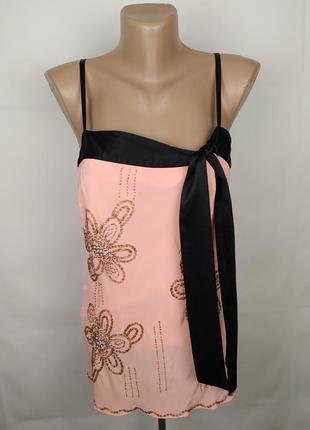 Блуза майка шикарная шелковая с бисером на подкладке 100% шелк oasis uk 10/38/s