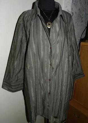 Элегантная блузка-рубашка бутылочного хаки,рукав 3/4,большого размера,батал,ulla popken