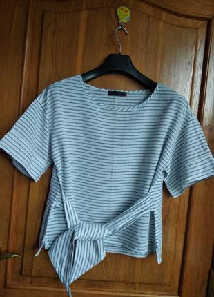 Натуральная блуза с поясом