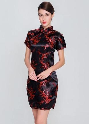 Шелковое платье в китайском японском стиле гейши сукня шовкова плаття