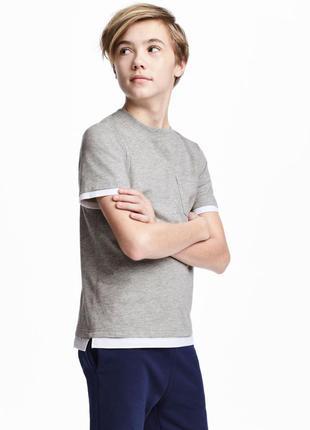 H&m стильная и солидная футболка на мальчика 10-12 лет