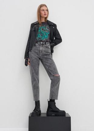 Крутые джинсы мом house серые плотные высокая посадка хлопок mom jeans
