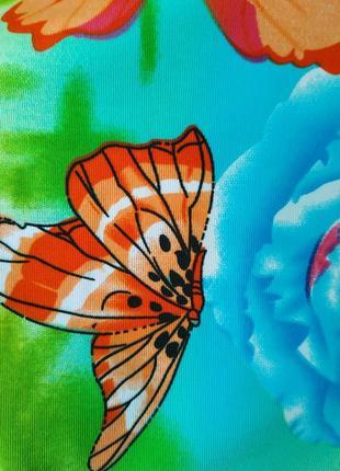 Футболка из ярких неоновых красок вискоза принт бабочки рукав фонарик6 фото