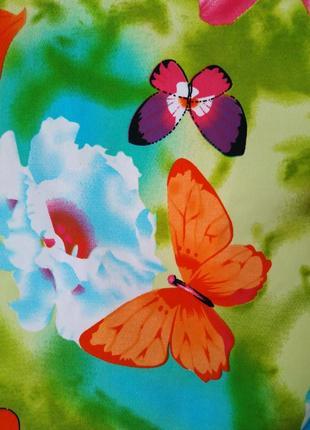 Футболка из ярких неоновых красок вискоза принт бабочки рукав фонарик5 фото