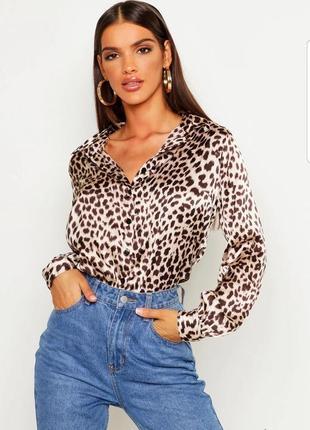 Шелковая блуза рубашка блузка леопардовый принт атласная boohoo