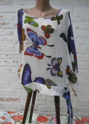 Блуза в бабочки оверсайз батал шелк италия