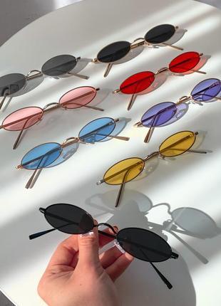 Очки солнцезащитные солнечные овалы узкие мини ретро винтаж женские