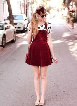 Topshop moto вельветовое платье комбинезон сарафан новое с этикетками модное бордо