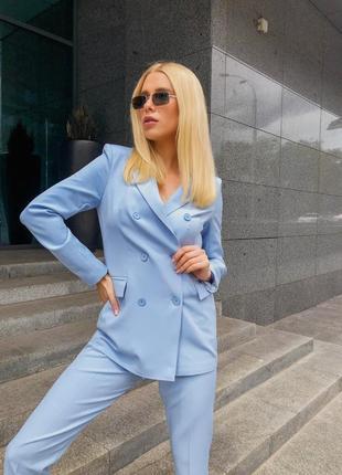 Топ качество 🔥брючный костюм  пиджак брюки  небесного цвета
