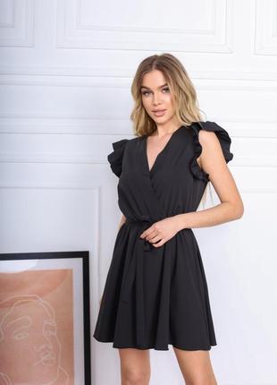 Женское короткое летнее платье чёрное
