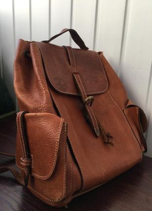 Кожаный винтажный рюкзак портфель ручной работы