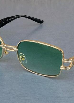 Versace очки унисекс солнцезащитные бирюзовые в золоте с градиентом