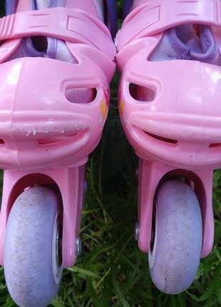 Раздвижные ролики с принцессами disney , роликовые коньки на размер 27-29 ,20-60 кг5 фото