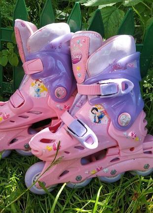 Раздвижные ролики с принцессами disney , роликовые коньки на размер 27-29 ,20-60 кг1 фото