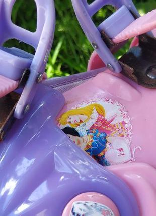 Раздвижные ролики с принцессами disney , роликовые коньки на размер 27-29 ,20-60 кг9 фото