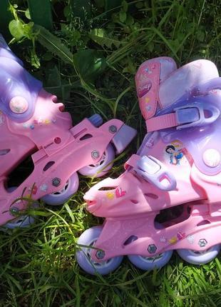 Раздвижные ролики с принцессами disney , роликовые коньки на размер 27-29 ,20-60 кг2 фото