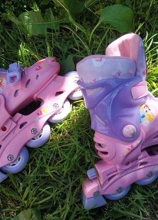 Раздвижные ролики с принцессами disney , роликовые коньки на размер 27-29 ,20-60 кг3 фото