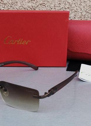 Cartier очки унисекс солнцезащитные модные узкие коричневые с градиентом безоправные