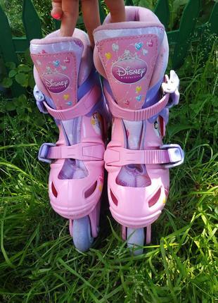 Раздвижные ролики с принцессами disney , роликовые коньки на размер 27-29 ,20-60 кг4 фото